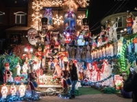 Mom and Me Dyker Heights Chrismtas Lights